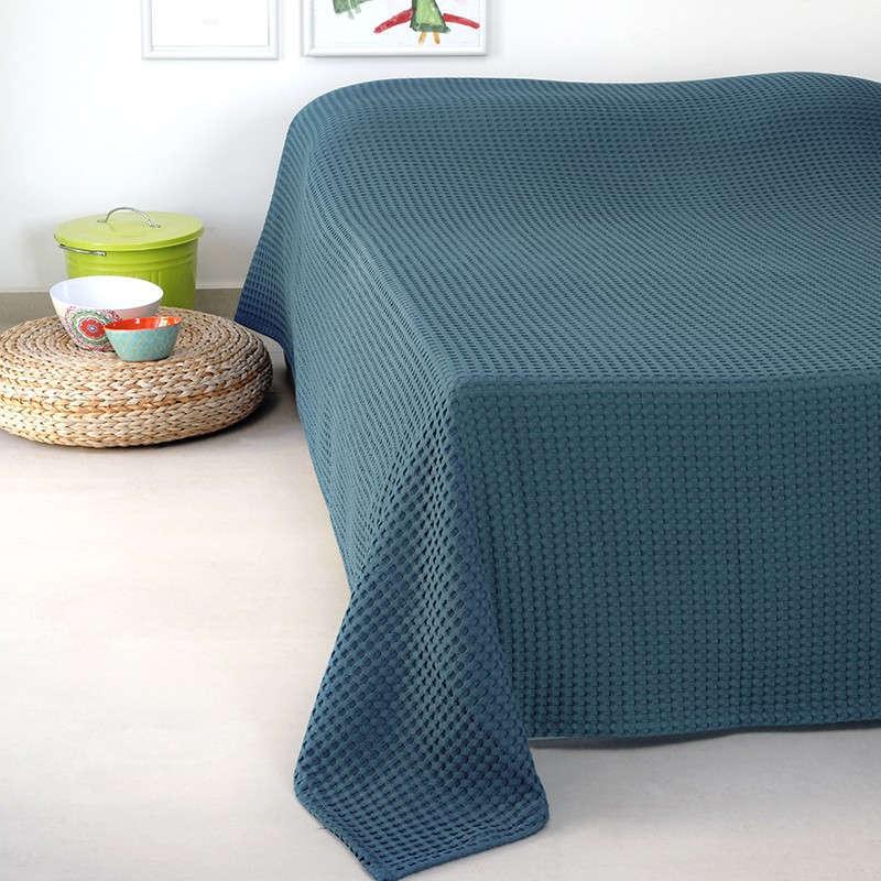 Κουβέρτα Πικέ Patmos 20 Βάφλα Blue Melinen Υπέρδιπλo 230x240cm