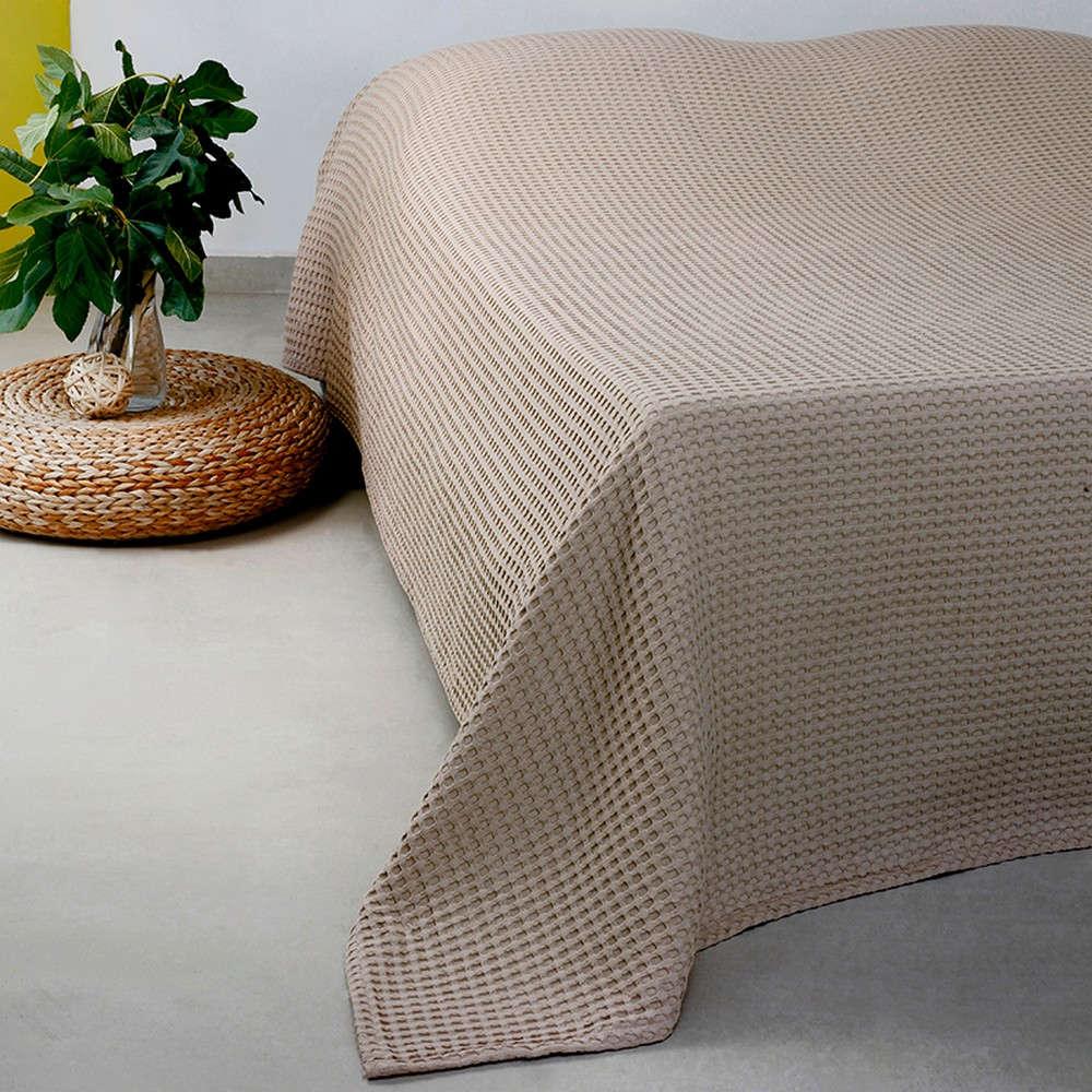 Κουβέρτα Πικέ Patmos 20 Βάφλα Linen/Beige Melinen Μονό 170x240cm
