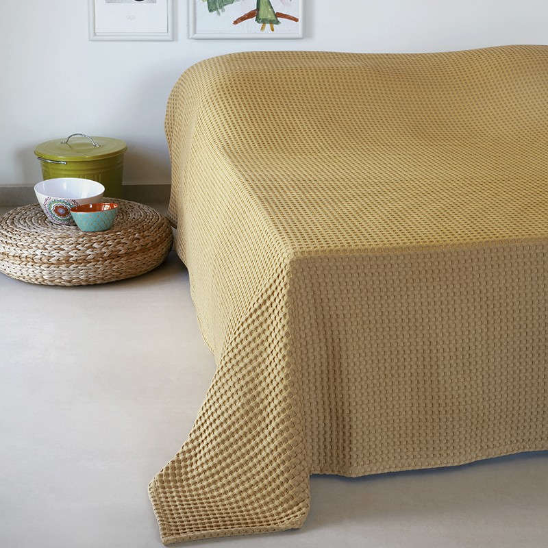Κουβέρτα Πικέ Patmos 20 Βάφλα Mustard Melinen Μονό 170x240cm