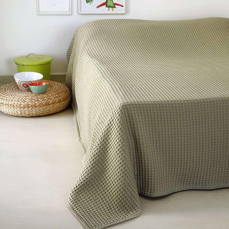 Κουβέρτα Πικέ Patmos 20 Βάφλα Olive Melinen King Size 240x260cm