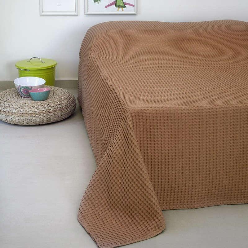 Κουβέρτα Πικέ Patmos 20 Βάφλα Terracotta Melinen Υπέρδιπλo 230x240cm