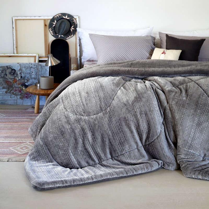 Κουβερτοπάπλωμα Zakar Knitted Shelby Grey Melinen Μονό 160x220cm