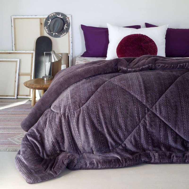 Κουβερτοπάπλωμα Zakar Knitted Shelby Mulberry Melinen Υπέρδιπλo 220x240cm