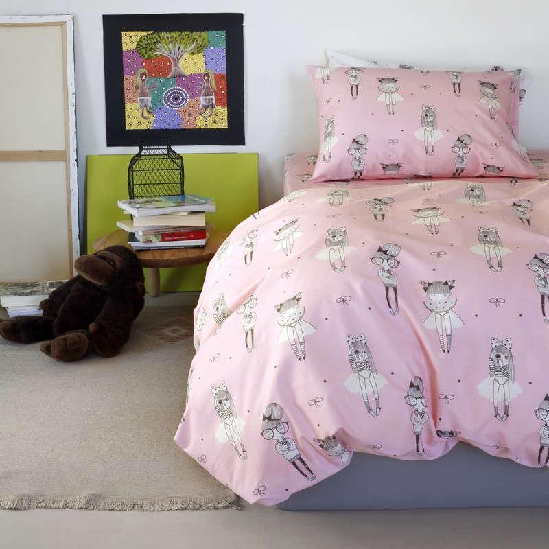 Μαξιλαροθήκες Σετ 2Τμχ Παιδικές Kids Line Cute Pink Melinen 55X75 52x72cm