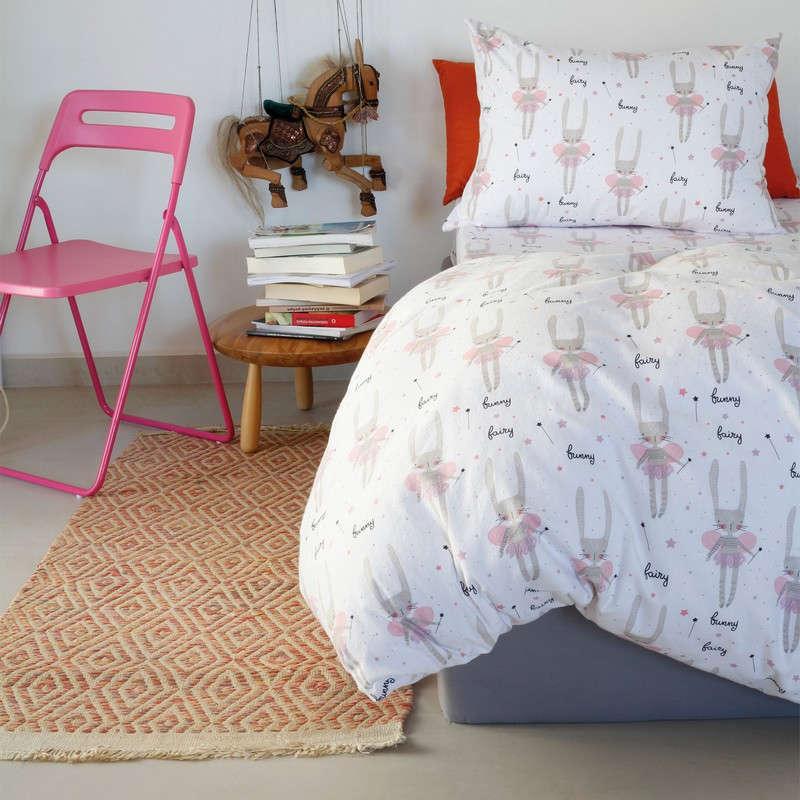 Μαξιλαροθήκες Σετ 2Τμχ Παιδικές Kids Winter Line Bunny White Melinen 50Χ70 50x70cm