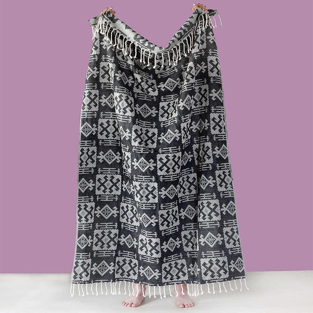 Πετσέτα Θαλάσσης – Παρεό Odel Black Black Melinen Θαλάσσης 95x190cm