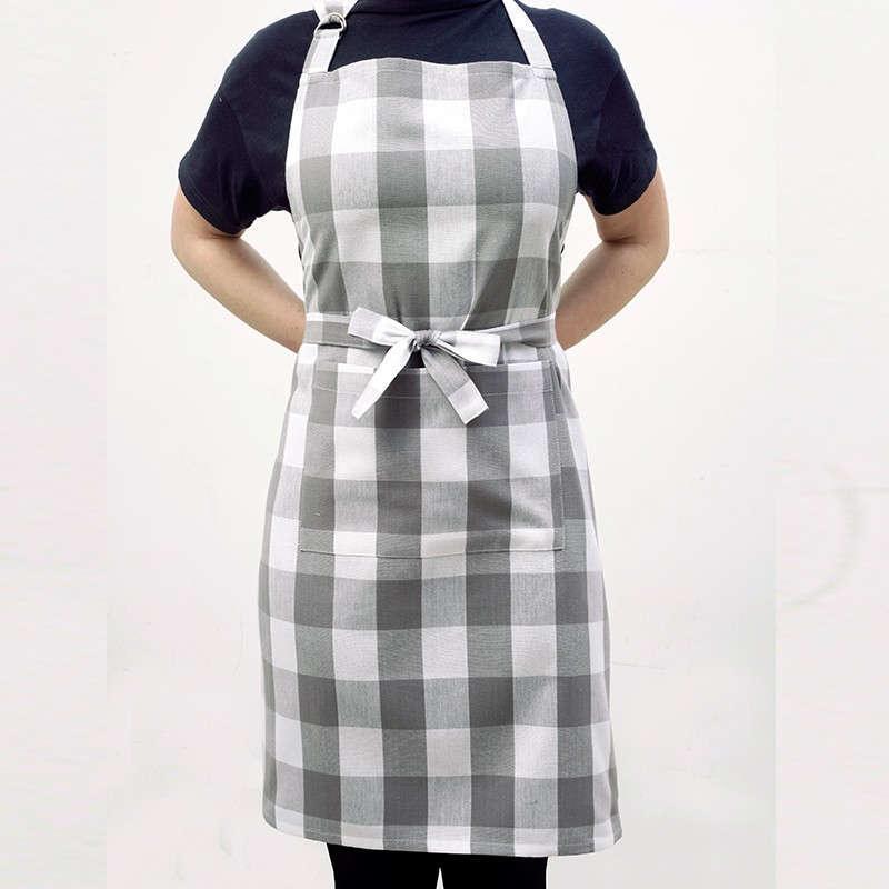 Ποδιά Κουζίνας Master Big Check Grey Melinen 60x76cm