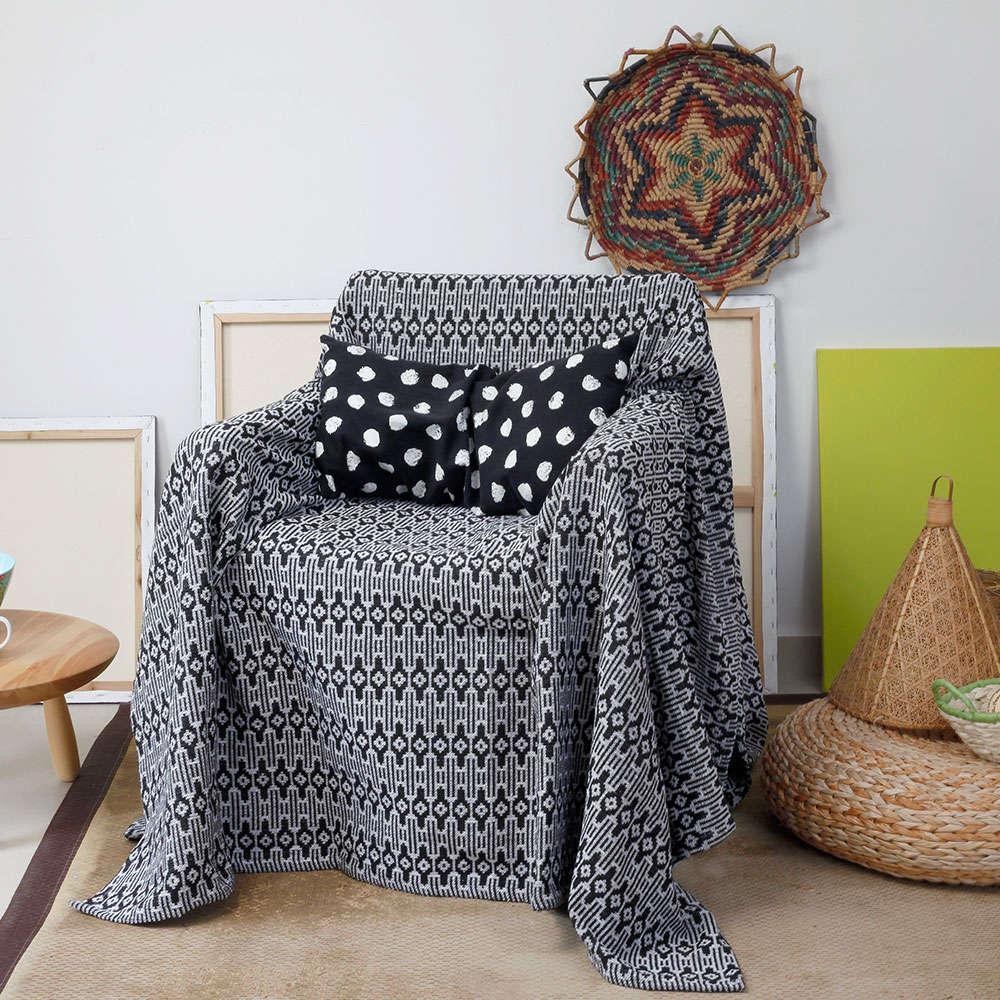 Ριχτάρι Aztec Black Melinen Πολυθρόνα 170x170cm