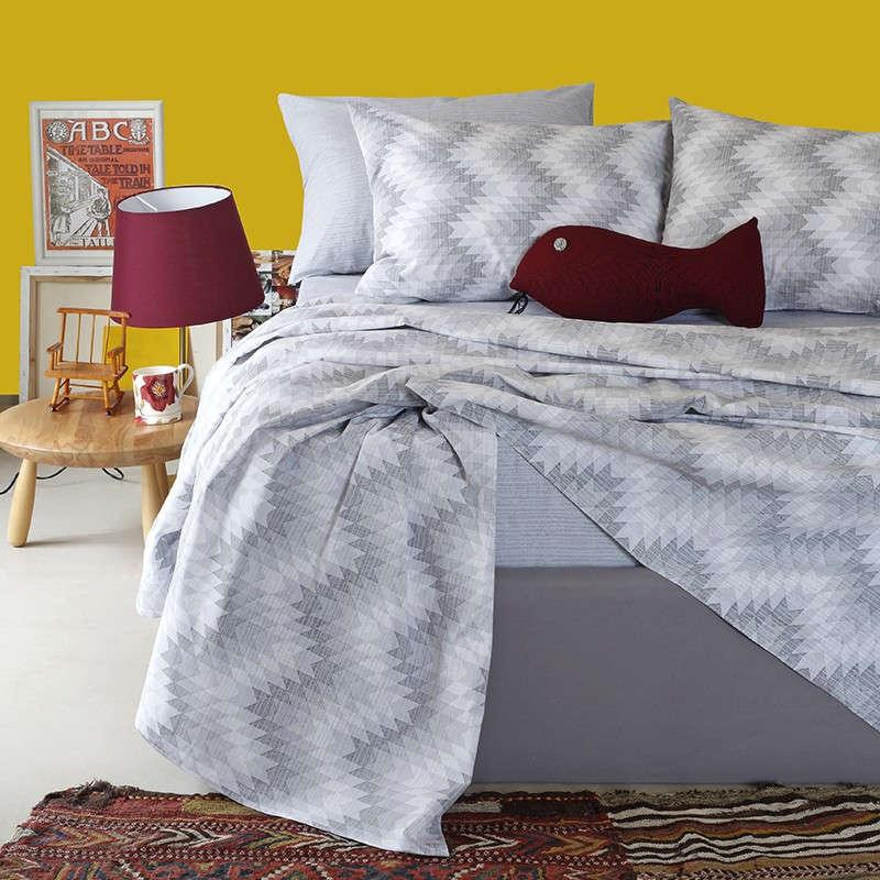 Σεντόνια Σετ 4Τμχ Ultra Line Textura Grey Melinen King Size 260x270cm