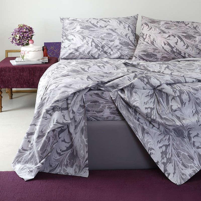 Σεντόνια Σετ Με Λάστιχο 4Τμχ Ultra Line Brooks Grey-Lilac Melinen Διπλό 150x200cm