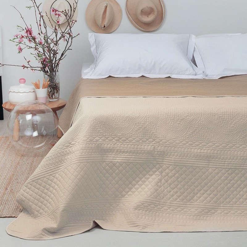 Κουβερλί Senza Ecru-Mocca Melinen Μονό 160x220cm
