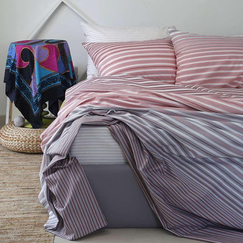 Παπλωματοθήκη Ultra Line Corso Pink Melinen Υπέρδιπλo 220x245cm