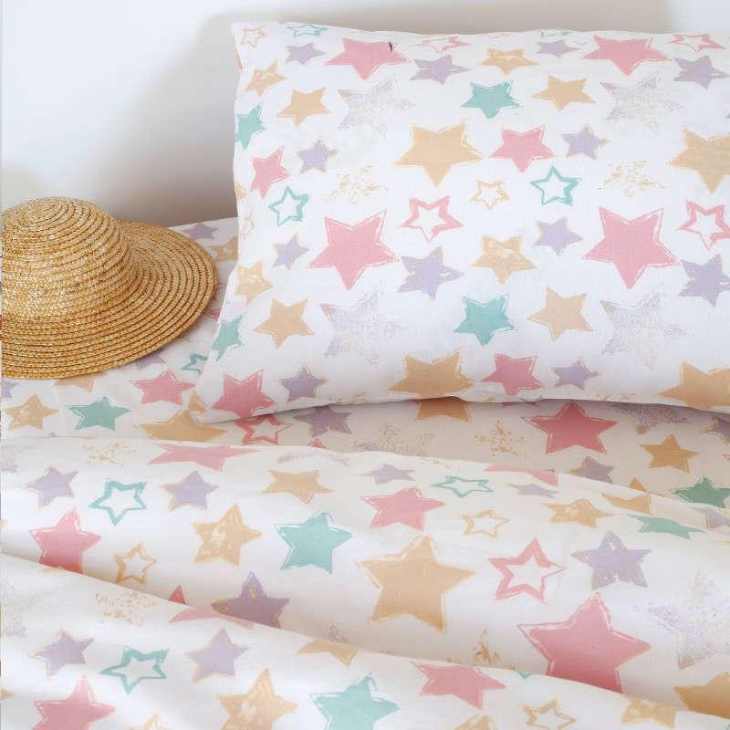 Σεντόνι Βρεφικό Baby Line Με Λάστιχο Star Multi Melinen Κούνιας 70x157cm