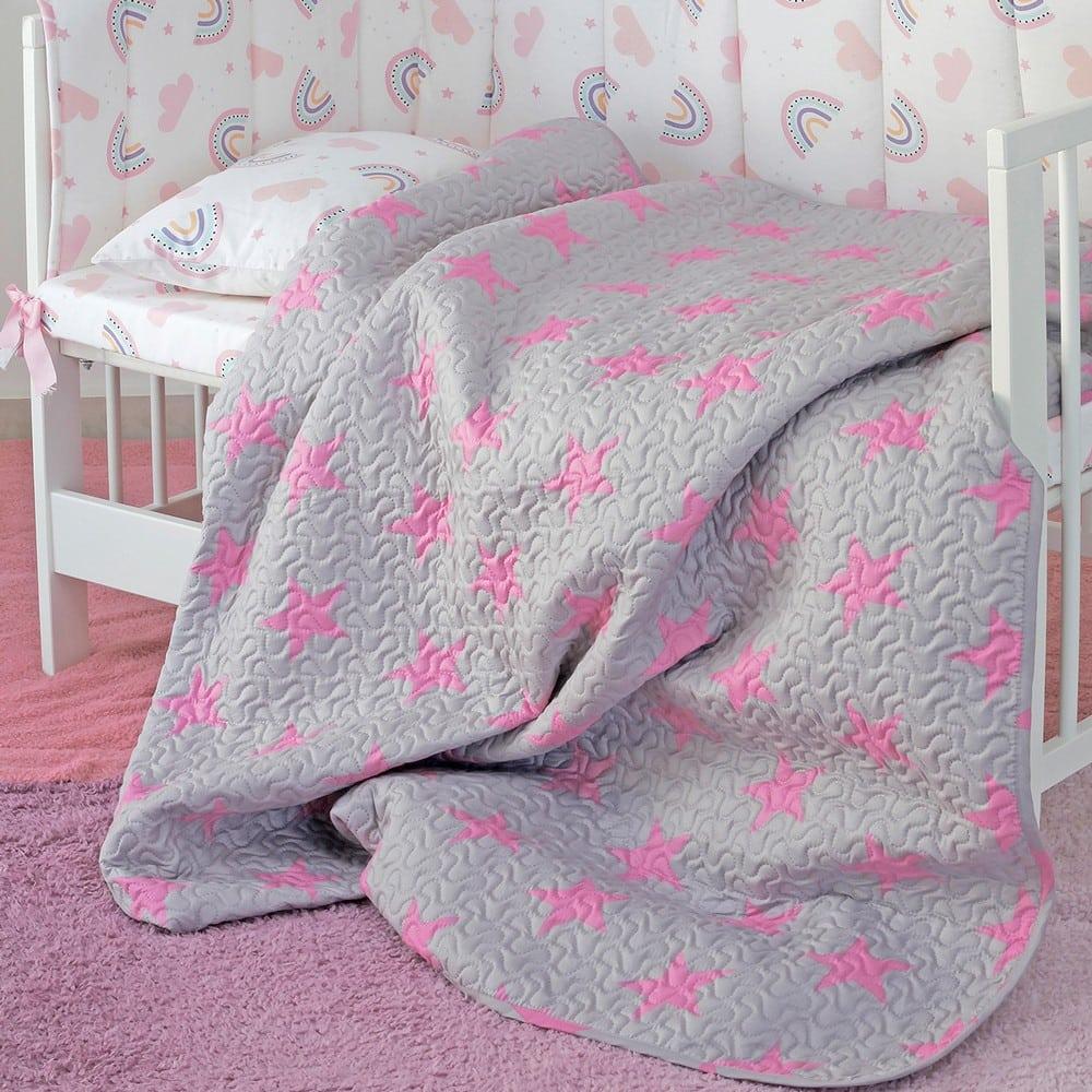 Κουβερλί Βρεφικό Star Girl Grey-Pink Melinen