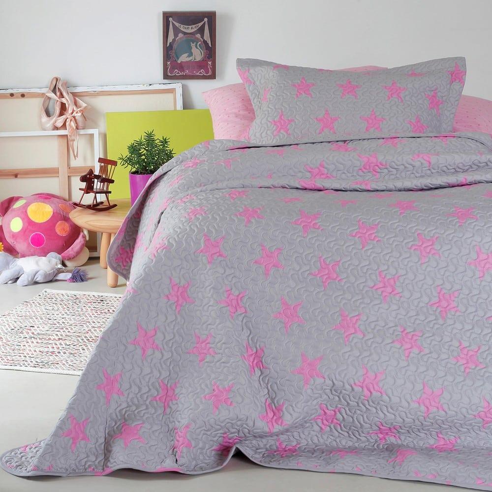Κουβερλί Παιδικό Star Girl Grey-Pink Melinen Μονό