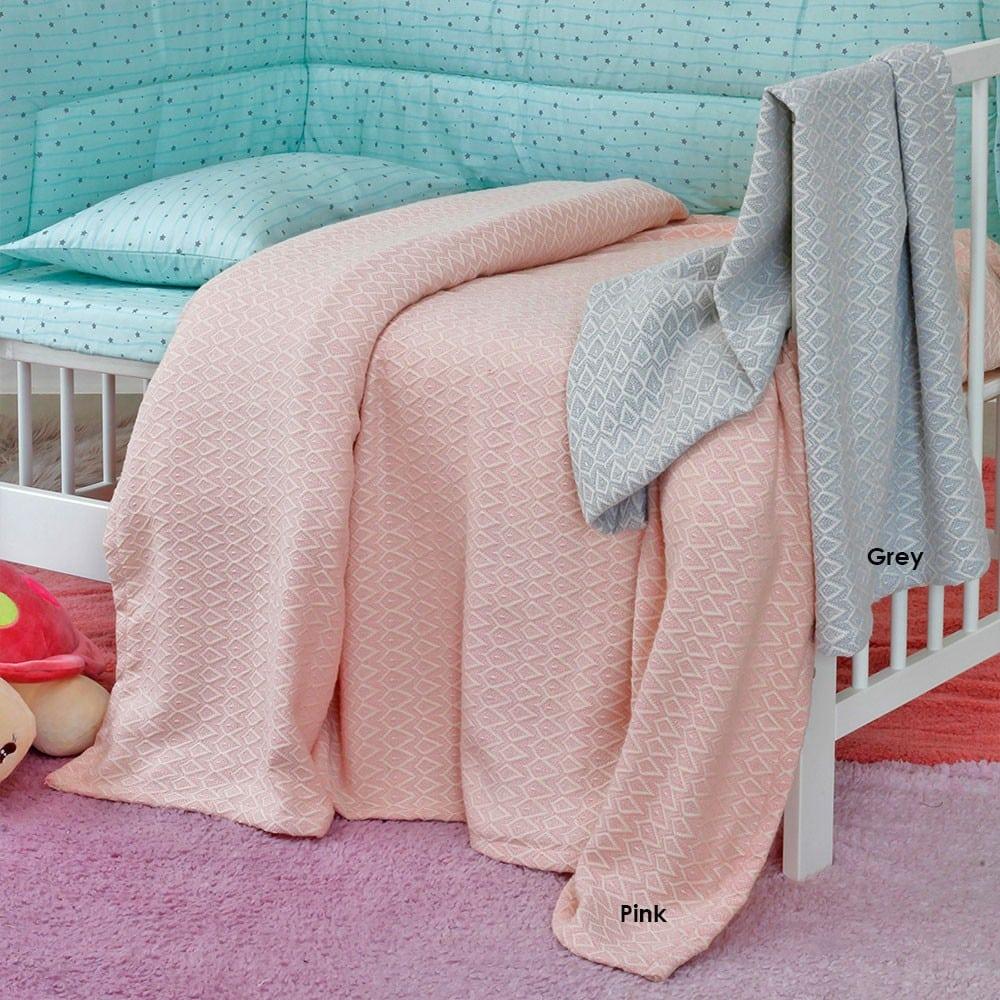 Κουβέρτα Βρεφική Massimo Πλεκτή Pink Melinen Κούνιας
