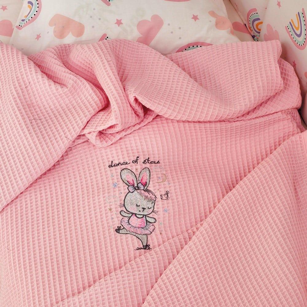 Κουβέρτα Βρεφική Πικέ Riviera Dance Pink Melinen Κούνιας