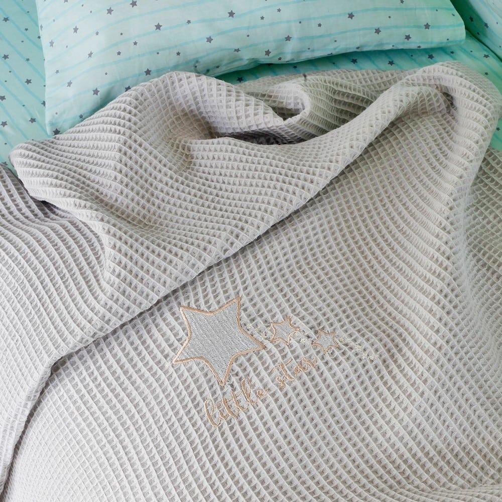 Κουβέρτα Βρεφική Πικέ Riviera Little Star Grey Melinen Αγκαλιάς