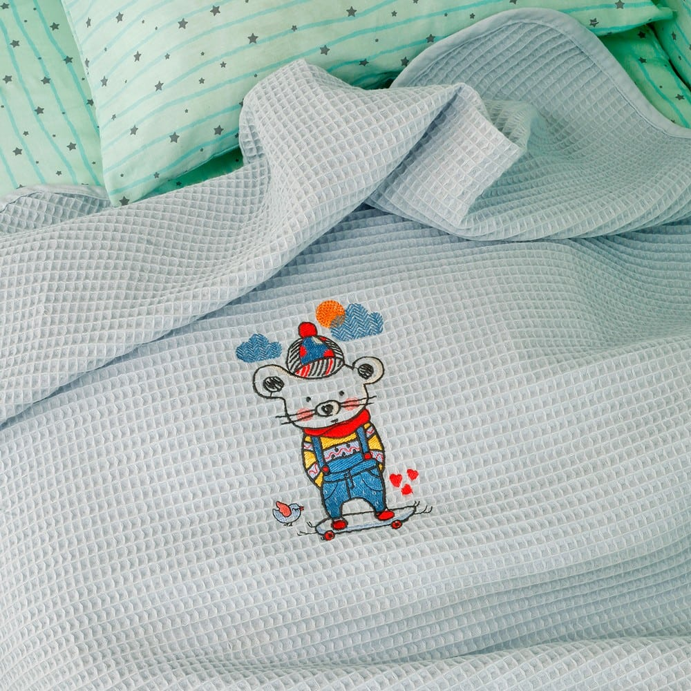 Κουβέρτα Βρεφική Πικέ Riviera Skater Ciel Melinen Αγκαλιάς