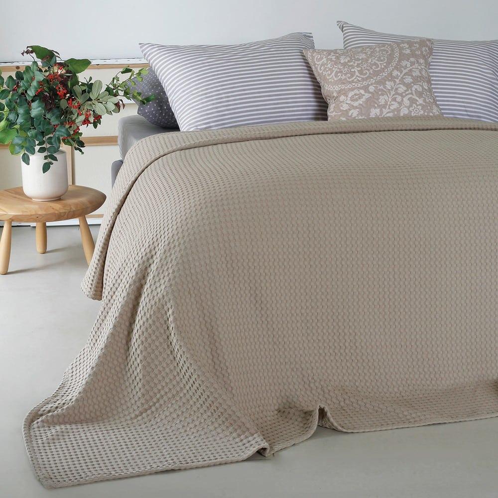 Κουβέρτα Πικέ Patmos Beige Melinen King Size