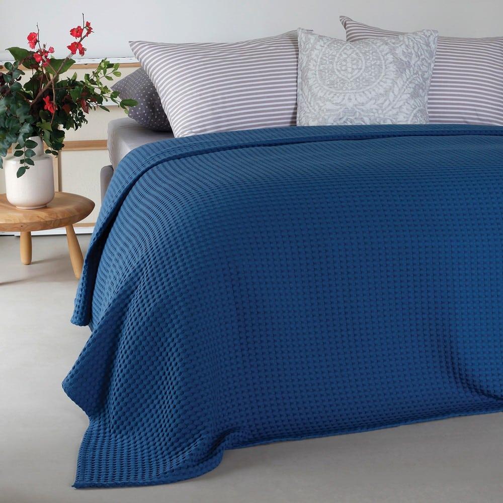 Κουβέρτα Πικέ Patmos Blue Melinen King Size