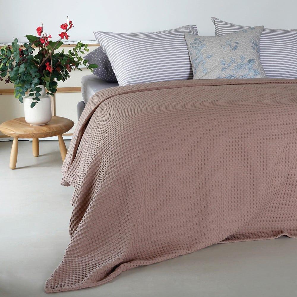 Κουβέρτα Πικέ Patmos Choco Melinen King Size