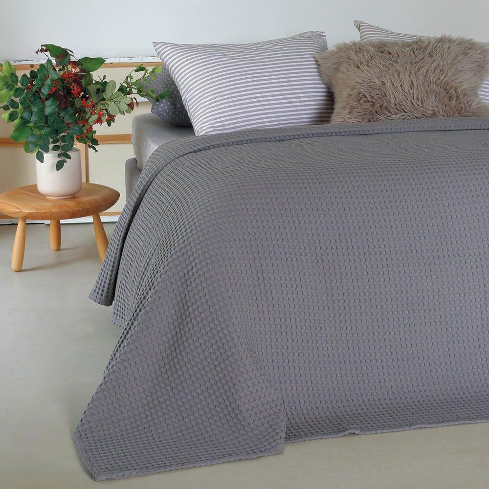 Κουβέρτα Πικέ Patmos Dark Grey Melinen Μονό