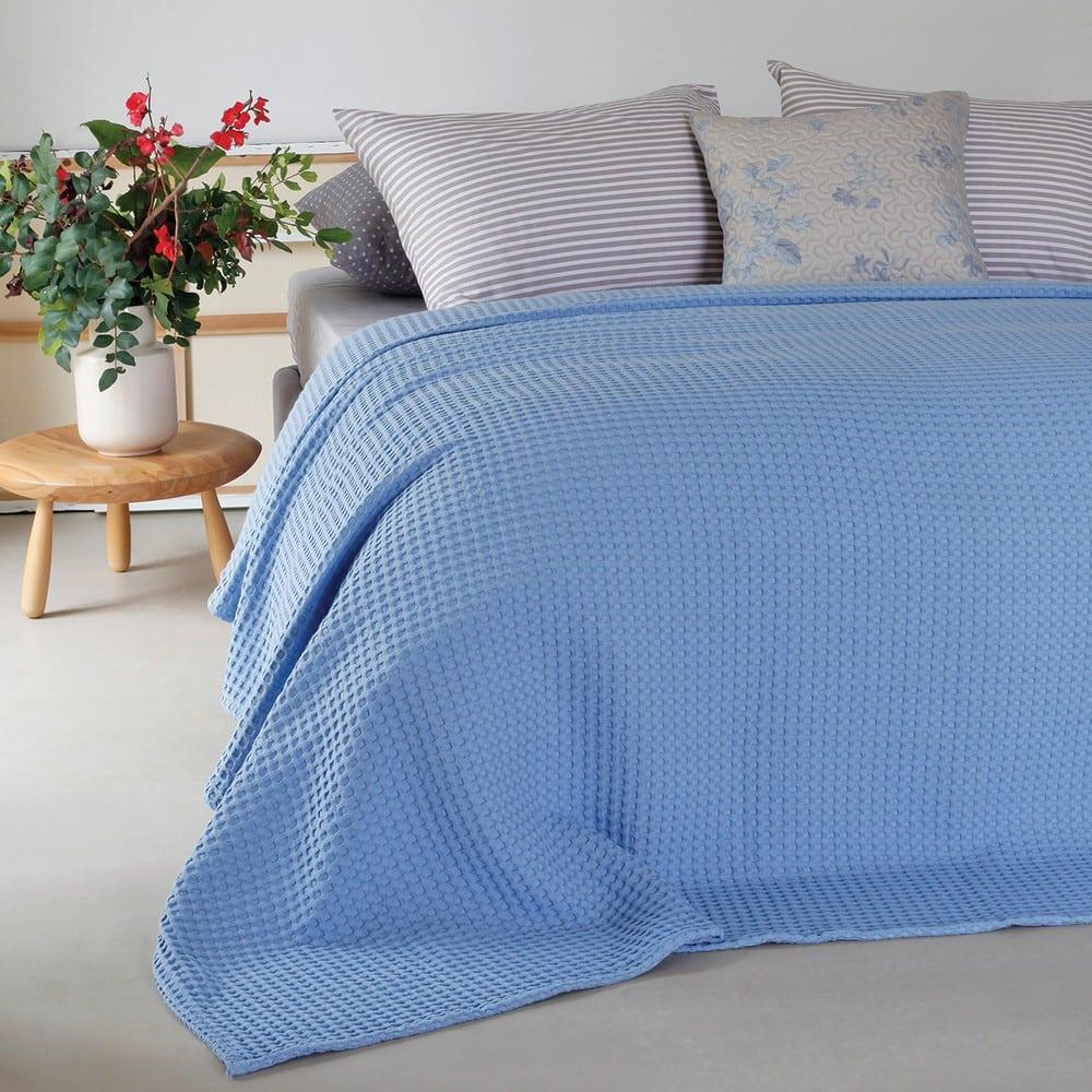 Κουβέρτα Πικέ Patmos Light Blue Melinen Υπέρδιπλo