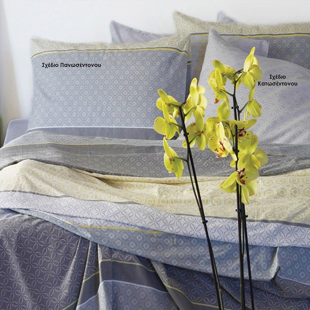 Μαξιλαροθήκες Gambi Σετ 2τμχ Σχέδιο Κατωσέντονου Grey Melinen 50Χ70
