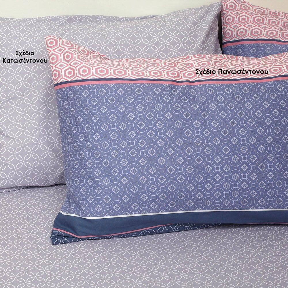 Μαξιλαροθήκες Gambi Σετ 2τμχ Σχέδιο Κατωσέντονου Pink Melinen 50Χ70
