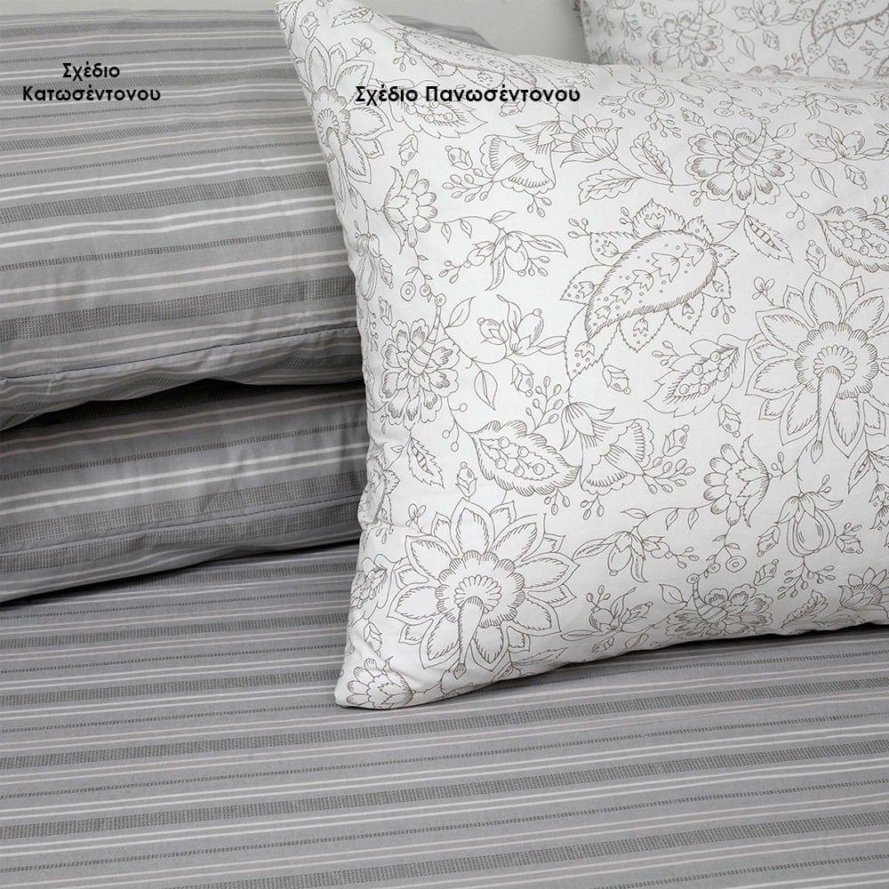 Μαξιλαροθήκες Lizzie Σετ 2τμχ Σχέδιο Κατωσέντονου Grey Melinen 50Χ70