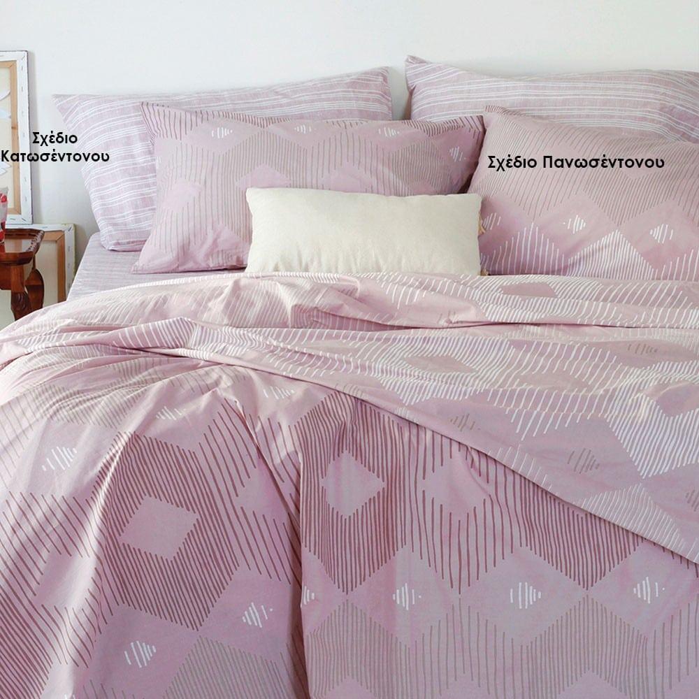 Μαξιλαροθήκες Monsieur Σετ 2τμχ Σχέδιο Πανωσέντονου Lilac Melinen 50Χ70