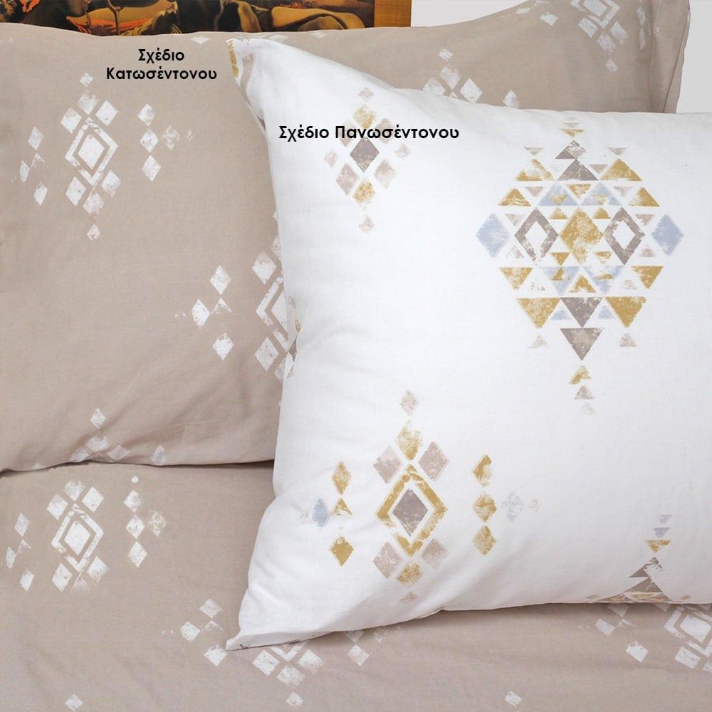 Μαξιλαροθήκες Pedro Σετ 2τμχ Σχέδιο Κατωσέντονου Grey Melinen 50Χ70
