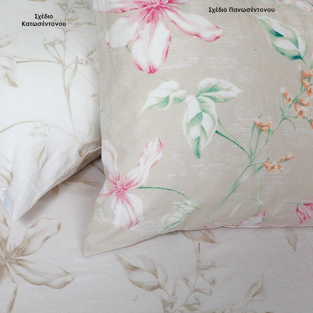 Μαξιλαροθήκες Vogue Σετ 2τμχ Σχέδιο Πανωσέντονου Beige Melinen 50Χ70
