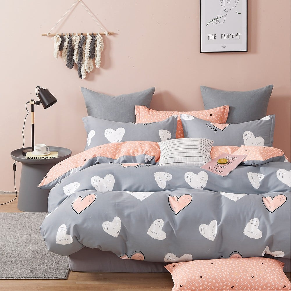 Μαξιλαροθήκες Παιδικές Σετ 2τμχ Love Girl Grey Melinen 50Χ70