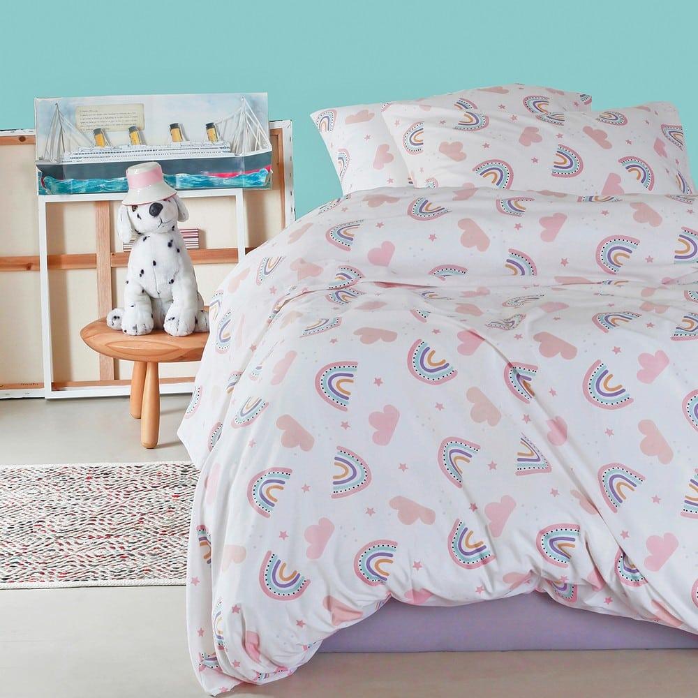 Μαξιλαροθήκες Παιδικές Σετ 2τμχ Rainbow Girl Pink Melinen 50Χ70