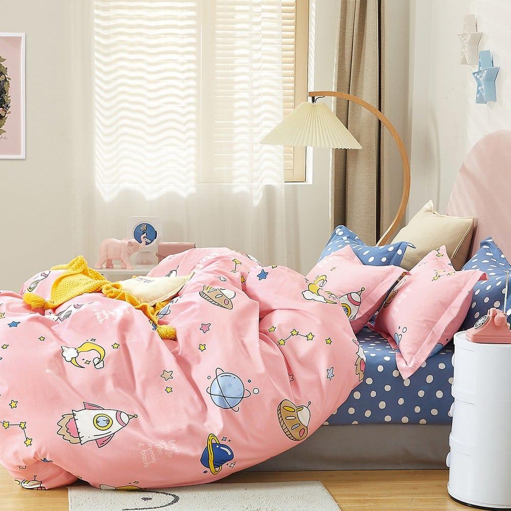 Μαξιλαροθήκες Παιδικές Σετ 2τμχ Space Girl Pink Melinen 50Χ70