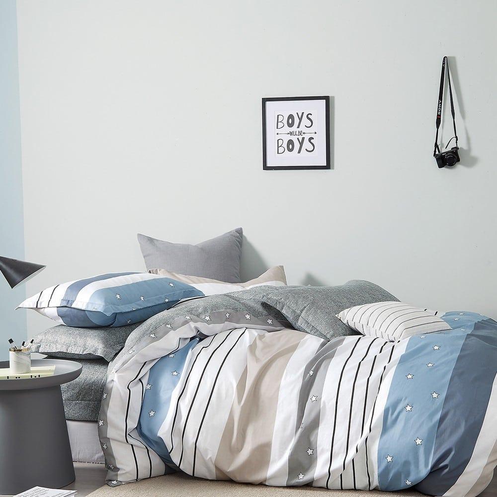 Μαξιλαροθήκες Παιδικές Σετ 2τμχ Stripe Star Boy Blue Melinen 50Χ70
