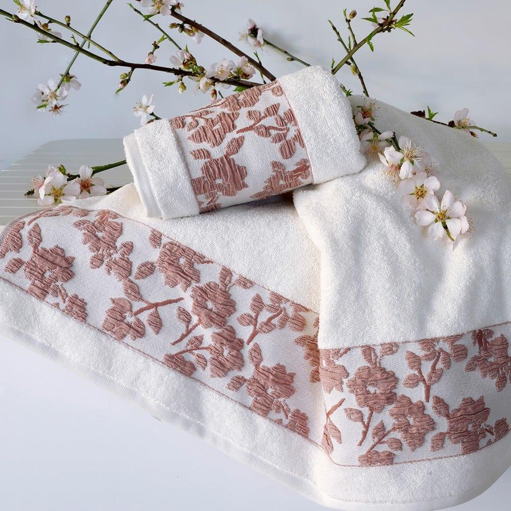 Πετσέτες Σετ 2τμχ Julietta White-Apple Melinen Σετ Πετσέτες