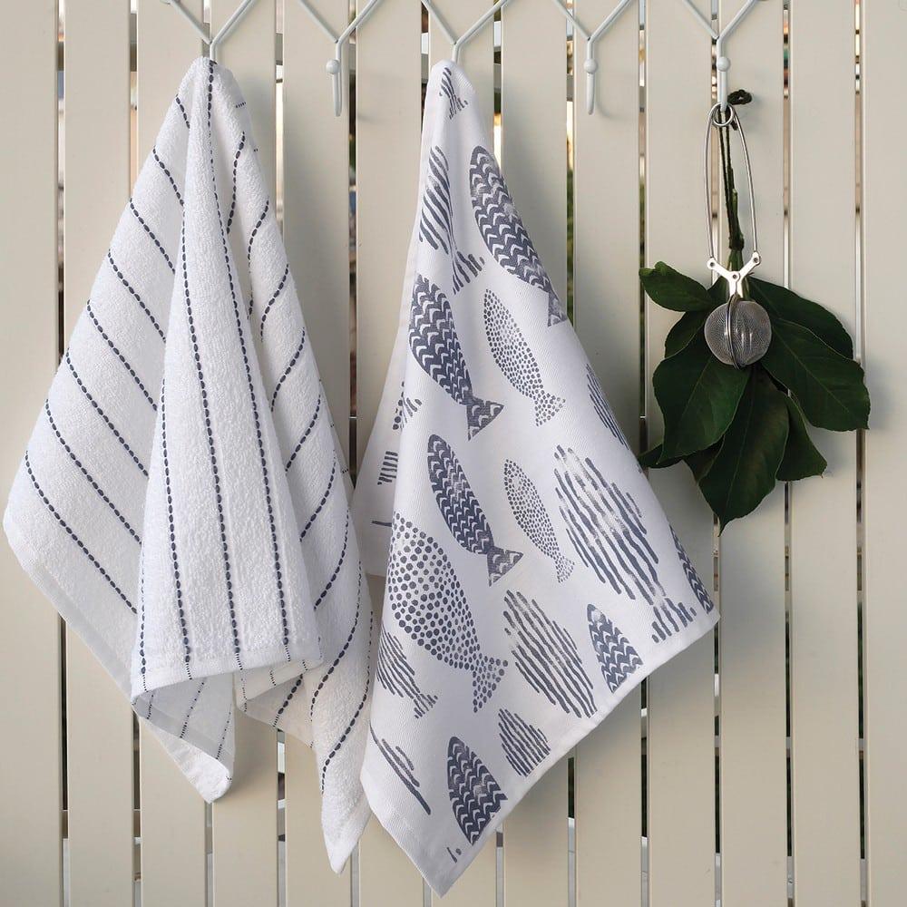 Πετσέτες Κουζίνας Σετ 2τμχ Fish White-Grey Melinen