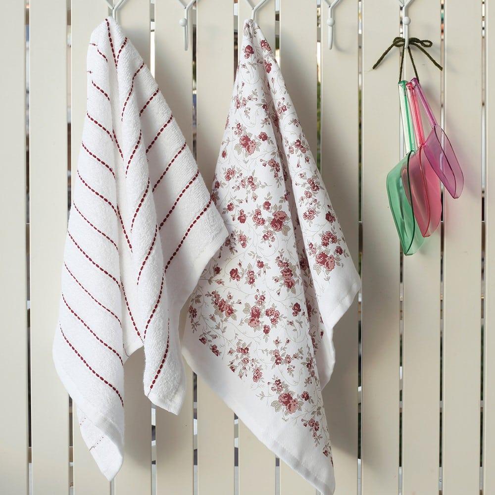 Πετσέτες Κουζίνας Σετ 2τμχ Liberty Floral White-Apple Melinen