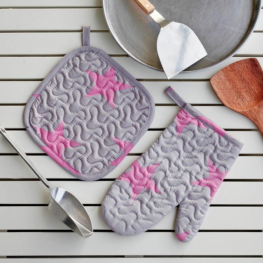 Πιάστρα Και Γάντι Κουζίνας Σετ 2τμχ Star Girl Grey-Pink Melinen