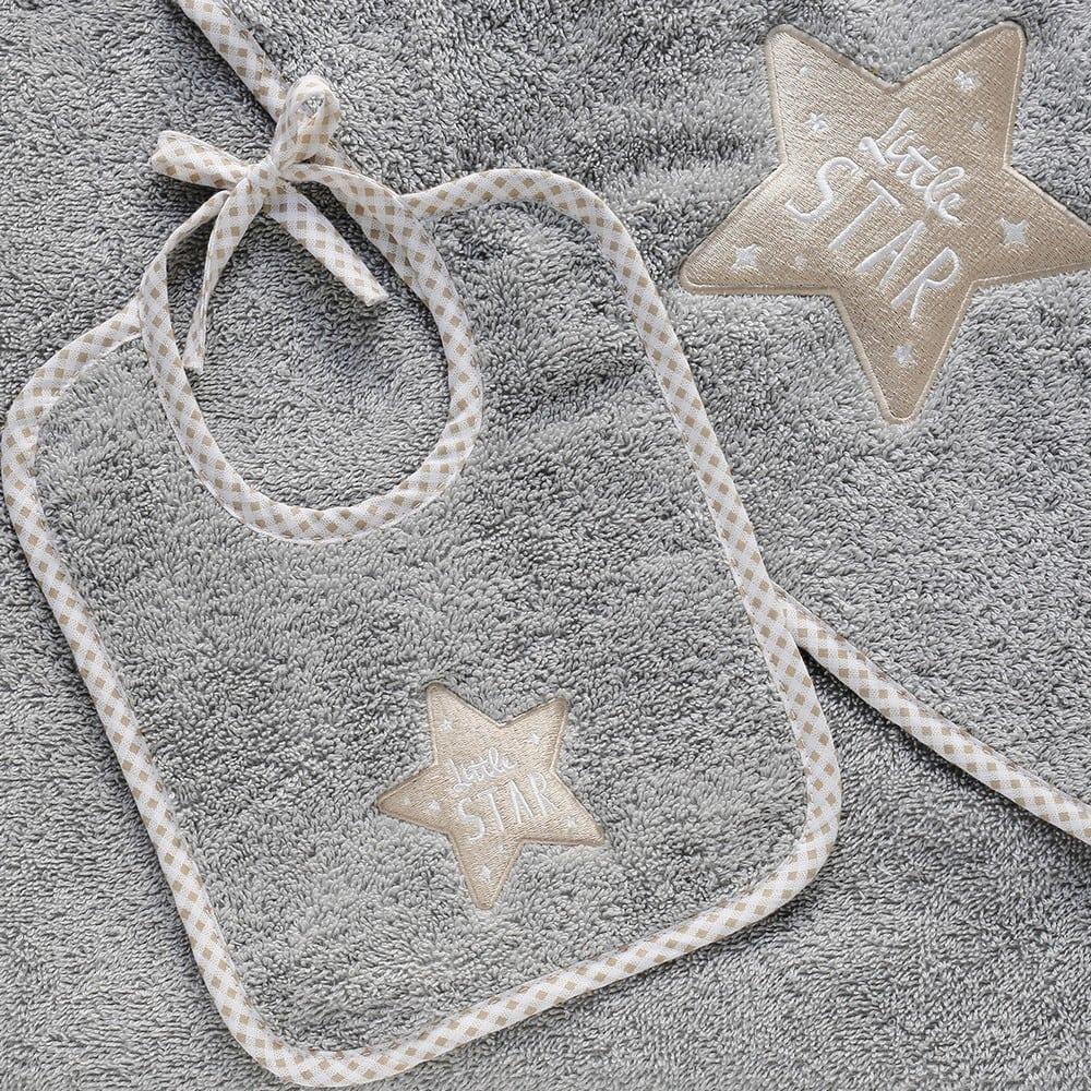 Σαλιάρα Βρεφική Little Star Grey Melinen