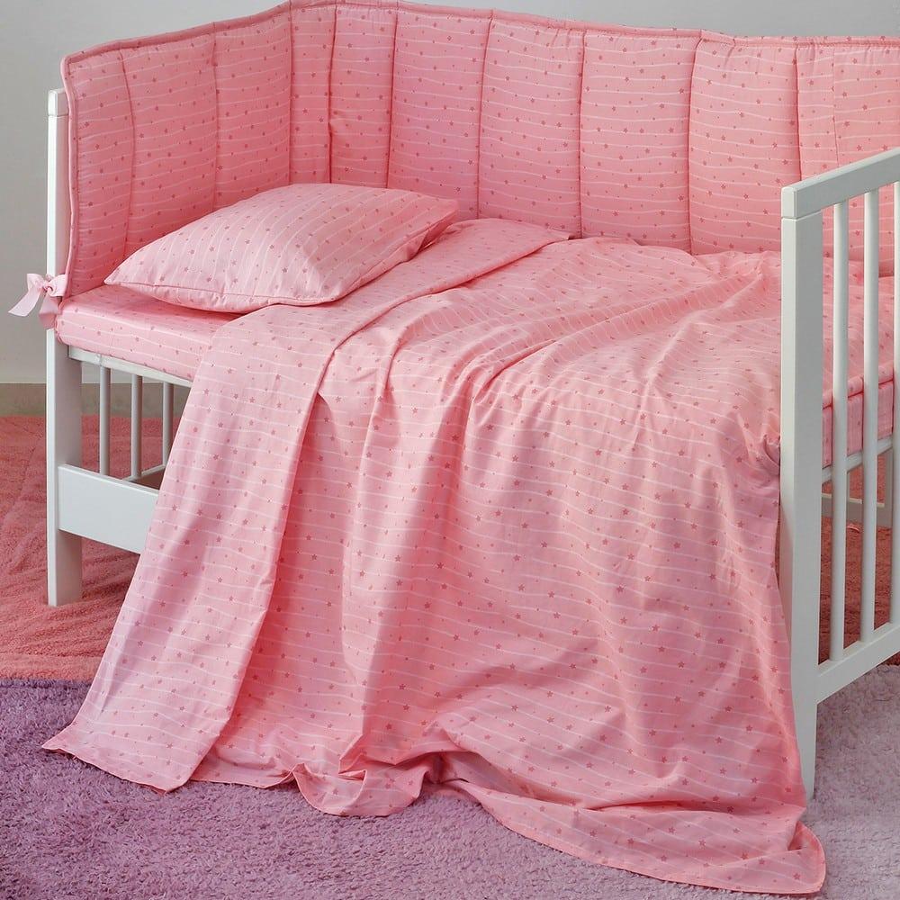 Σεντόνια Βρεφικά Με Λάστιχο Σετ 3τμχ Estrella Girl Pink Melinen Κούνιας