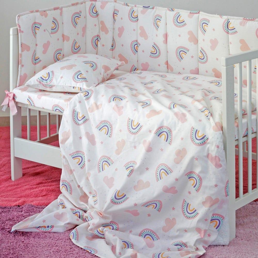Σεντόνια Βρεφικά Σετ 3τμχ Rainbow Girl Pink Melinen Κούνιας