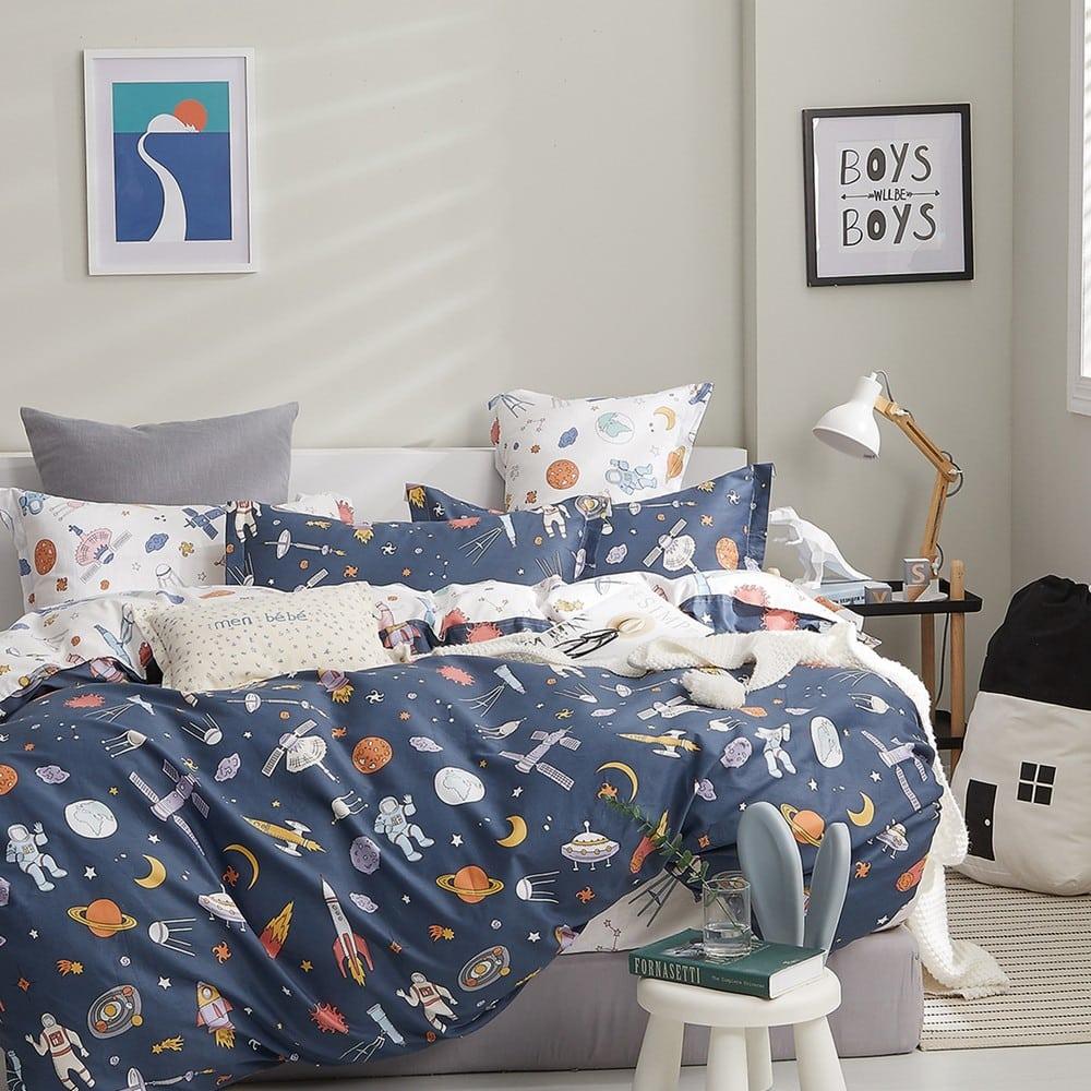 Σεντόνια Παιδικά Με Λάστιχο Space Boy Σετ 3τμχ Blue Melinen Μονό