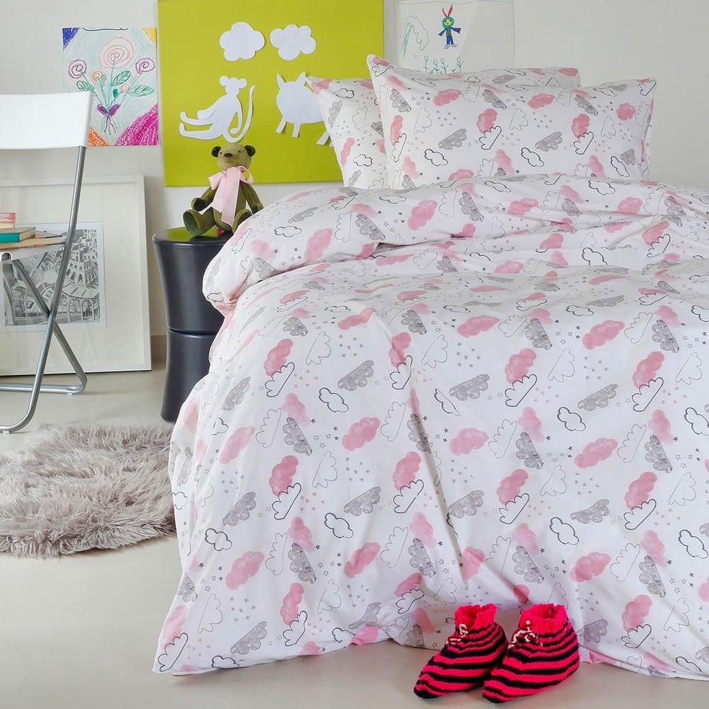 Σεντόνια Παιδικά Με Λάστιχο Σετ 3τμχ Cloud Girl Pink Melinen Μονό