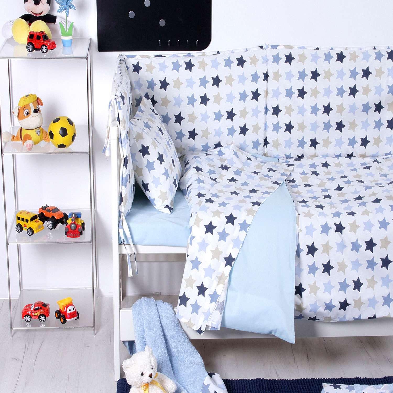 Σεντόνια Σετ 3τμχ Βρεφικά Baby Stars Blue Sb Home Κούνιας 120x160cm