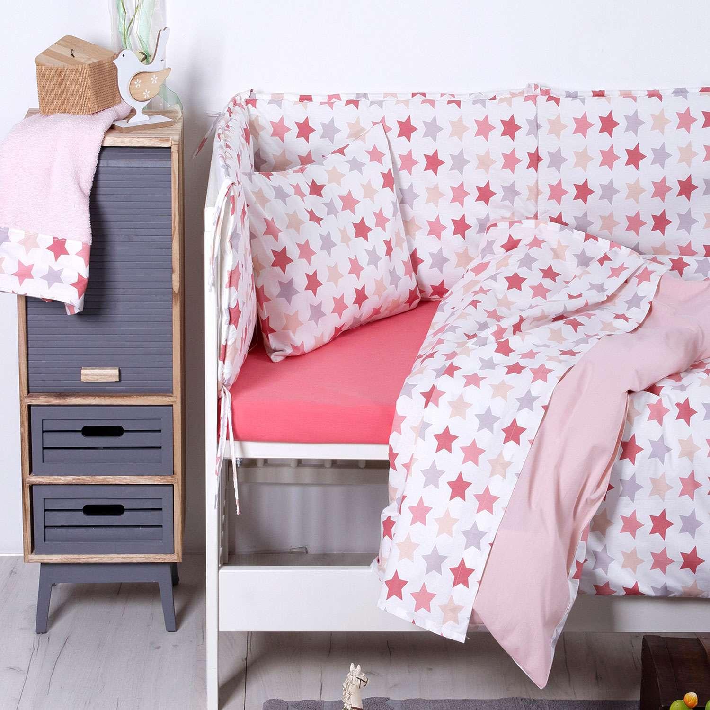 Σεντόνια Σετ 3τμχ Βρεφικά Baby Stars Pink Sb Home Κούνιας 120x160cm