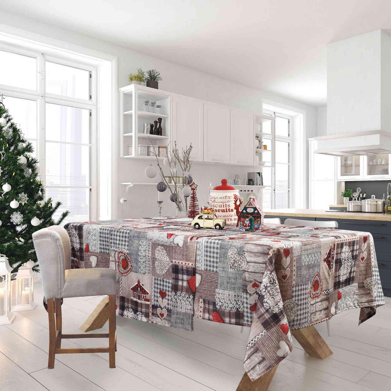 Τραπεζομάντηλο Χριστουγεννιάτικο 0571 Grey-Red Das Home 150X200